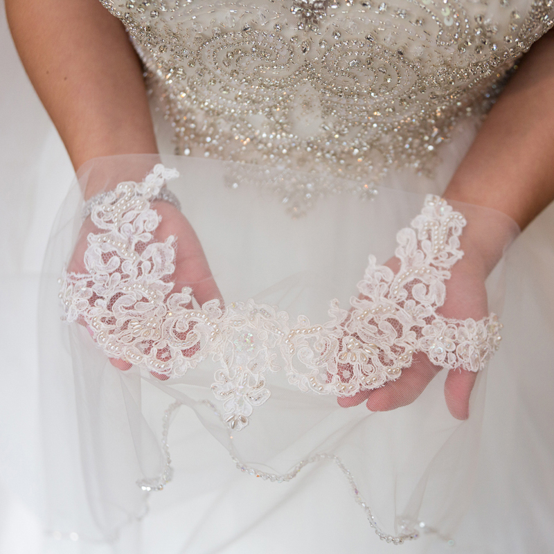 Bridge holding vintage lace that was from her mothers wedding dress