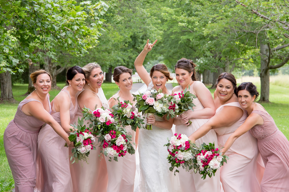 Bride from Buffalo at Knox farm with bridesmaids wearing blush
